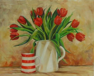 Dad's, Tulips Painted in Oils, simply beautiful...