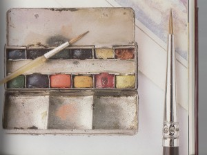 Silver Winsor & Newton Watercolour Paint Box alongside a Full Size Paint Brush