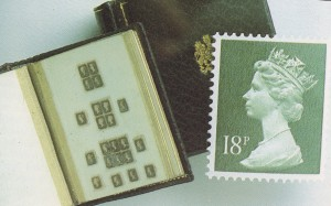 George V was an avid Stamp Collector, here you can see the Miniature version alongside a Full Size Stamp...
